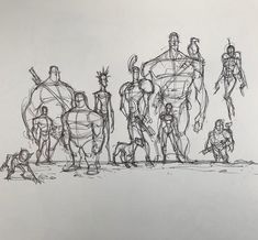 """389 Likes, 3 Comments - Joshua Black (@joshhunterblack) on Instagram: """"A rough lineup of characters during church. #sketchbook #standingposes #sketchbook #art…"""""""