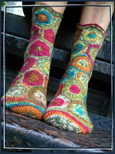 Sock made up of hexagons using self-striping yarn  026 by gray la gran, via Flickr