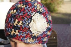 Crochet Blue/Red/Yellow Multi Soft Beanie Hat with White Lacy Flower on Etsy, $24.00