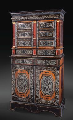 a louis XIV ebony, rosewood, tin, and brass marquetry cabinet