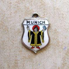 Vintage Sterling Silver Munich Germany Enamel Travel Shield Bracelet Charm REU #REU