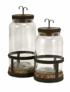 "Set of 2 Rustic Old Fashioned Glass and Metal Jar Canisters 15"" by CC Home Furnishings, http://www.amazon.com/dp/B0042SWFNQ/ref=cm_sw_r_pi_dp_P3oWqb17CQVYF"