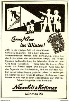 Werbung - Original-Werbung/ Anzeige 1937 - NIZO CINE KAMERA / NIEZOLDI & KRÄMER MÜNCHEN - ca. 65 x 100 mm