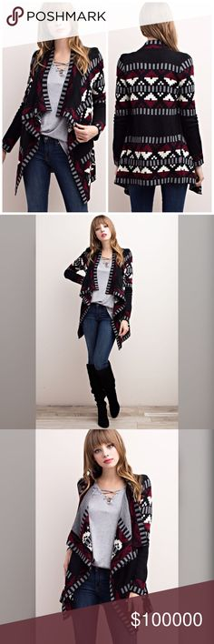Arriving soon! Rich color Geo Print open cardigan! Stay warm- cozy and chic in this stunning open sweater in black- burgundy and heather gray🌸 Sweaters Cardigans