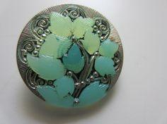 Czech Glass 1 beautiful large blue green tree and by pillowtalkswf, $4.00