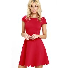 Proof of Perfection Red Skater Dress ($52) ❤ liked on Polyvore featuring dresses, red, red dress, red cap sleeve dress, skater dress, scallop hem dress and scalloped dress