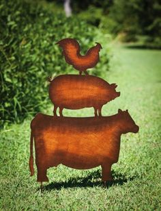 """Farm Animals Garden Stake,Metal,20.5x0.25x30.5 Inches by Ashley. $18.58. Made of durable metal. Easily stakes into the ground. Approximate dimensions are 20.5"""" x 0.25"""" x 30.5"""". Place this farm animal garden stake anywhere in your outdoor space for a unique bit of rustic charm!. Save 47%!"""