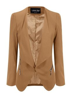 Office Style // Create a chic office outfit by topping it off with this champagne draped blazer.