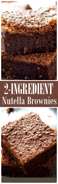 2-Ingredient Nutella Brownies | www.diethood.com | Eggs and Nutella are all you will need to make these delicious 2-Ingredient Brownies!