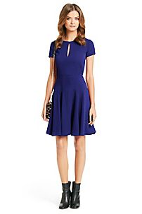 Perfectly flirty, the Raizel in ultramarine is a fit-and-flare knit dress with a flattering cap sleeve, a button keyhole neck, and keyhole detail at sleeve. http://on.dvf.com/13DEbJB