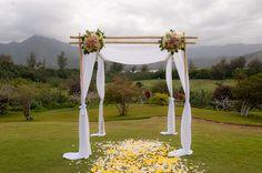 Bamboo Wedding arch with flowers #wedding #kauai