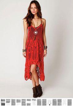 Crochet dress PATTERN, sexy crochet boho dress, designer crochet dress PATTERN…