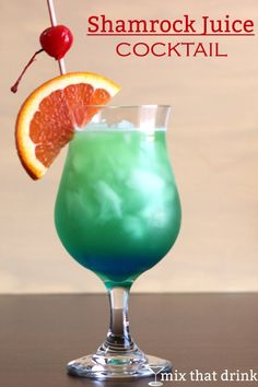My modified version of the Shamrock Juice cocktail recipe. This gorgeous green-blue drink has a fuzzy layered appearance. This drink has 4 ounces of orange juice, and that's what you'll taste the most.