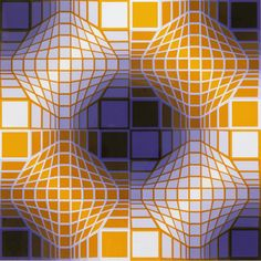 Victor Vasarely - deconstruct this image.  Are there any curves or just straight lines?
