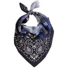 Ternary London - Blue Hydrangea Floral Silk Bandana Neck Scarf (173 AUD) ❤ liked on Polyvore featuring accessories, scarves, paisley print bandana, paisley scarves, blue bandana, paisley shawl and silk bandana