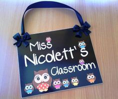 teacher gift door sign classroom black owls themed signs class custom name wall plaque - free shipping - PL479 on Etsy, $16.99