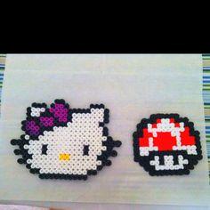 Mario Bros mushroom and a Hello Kitty made from perler beads