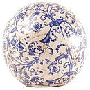 Blue and White Aged Ceramic Decorative Ball - garden art & sculpture