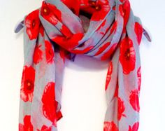 Red Poppy Grey Spring Scarf Summer Scarf