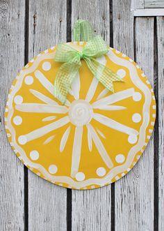 Large+Lemon+Slice+Wooden+Door+Hanger+Art+by+PatrioticPeacockShop,+$40.00