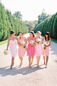 Ombre pink bridesmaids. Donna Morgan, Spring 2014
