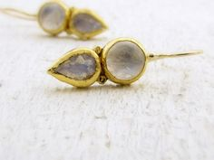 Gold Earrings  24k Solid Gold Earrings  Moonstone by Omiya on Etsy, $285.00