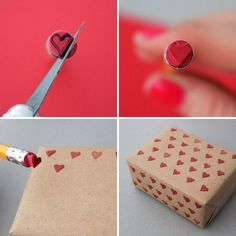You can use an Xacto knife to turn a pencil eraser into a heart-shaped stamp - so love-ly!--care package idea