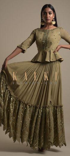 Moss Green Skirt And Peplum Top With Mirror Abla Embroidery And Zigzag Cut Hem Online - Kalki Fashion Online - Kalki Fashion Indian Clothes, Indian Outfits, Mehendi, Zig Zag, Pakistani, Fashion Online, Cuffs, Peplum, Neckline