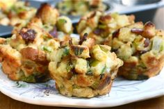 Adorable Pancetta and Sage Stuffing Muffins | This stuffing recipe has everything a good stuffing should: aromatics, fresh herbs and a nice smoky pancetta.