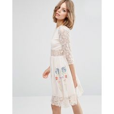 ASOS PREMIUM Skater Dress with Lace Sleeves and Neon Embroidery ($44) ❤ liked on Polyvore featuring dresses, cream, embroidered dress, night out dresses, sleeved prom dresses, holiday party dresses and lace sleeve prom dress