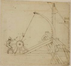 "Large vertical bent-frame catapult with sling, ""frombola""."