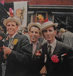 1950s vintage color photo Men In Hats and Suits At Street Parade Fair Celebration