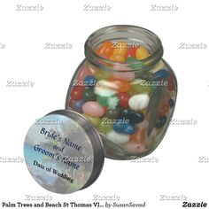Palm Trees and Beach St Thomas VI Wedding Products Jelly Belly Candy Jars