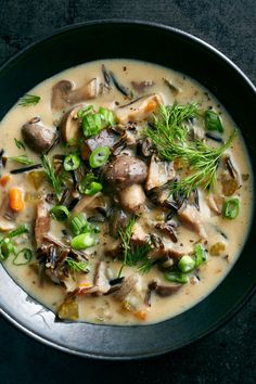 NYT Cooking: This comforting soup tastes long-simmered, but it's cooked in a pressure cooker, which makes it a weeknight possibility (though you could also make this recipe in a slow cooker). Use any variety of mushrooms you like: Cremini (also called baby bella) are affordable and easy to find and work well, or you can add shiitake or oyster mushrooms for a mix of texture and flavors. Don't worry about rem... Slow Cooker Recipes, Soup Recipes, Cooking Recipes, Dinner Recipes, Stuffed Mushrooms, Stuffed Peppers, Roasted Mushrooms, Wild Rice Soup, Mushroom Recipes