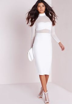 Missguided Long Sleeve Mesh Top Midi Dress White