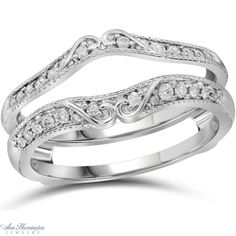14k White Gold 1/4 ct tw Diamond Antique Style Scroll Design Ring Guard, A10628