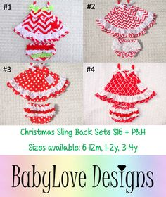 Pre-Order Christmas Sling Back Sets $16 + P&H 4 Styles available, Sizes from 6m - 3y  #1 Sizes 6-12m, #2 Sizes 3-4y and #3 Sizes 6-12m, 1-2y and 3-4y are in stock!  *Please Note - We will be closed last 2 weeks of October so all orders will need to be in by then.*Lay-By Available*ETA November*