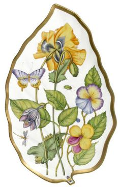 """""""Midsummer"""" porcelain leaf tray by Anna Weatherley for De Vine Corp, USA Dutch Still Life, China Painting, China Patterns, Cartoon Drawings, Pansies, Chinoiserie, Dinnerware, Anna, Fine China"""