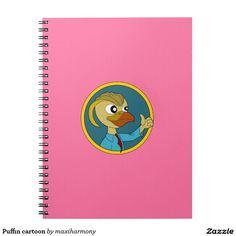 Puffin cartoon spiral note book