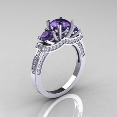 French 18K White Gold Three Stone Alexandrite Diamond Wedding Ring, Engagement Ring R182-18KWGDAL