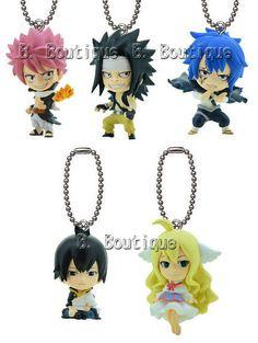 Fairy Tail figure keychain strap x1 ONLY Jellal Natsu Gajeel Zeref Mavis Anime
