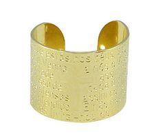 Anel ajustável folheado a ouro c/ a oração do Pai Nosso Código: AN0387