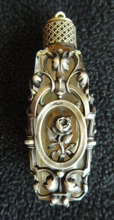 RARE Antique ART NOUVEAU FRANCE STERLING SILVER CASED GLASS PERFUME BOTTLE Vg NR #ArtNouveau | JV