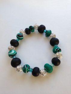 Braccialetto verde nero argento
