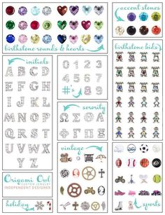 Origami Owl charms  A sneak peek at some of the collections you can add to your locket.  www.desireemoore.origamiowl.com