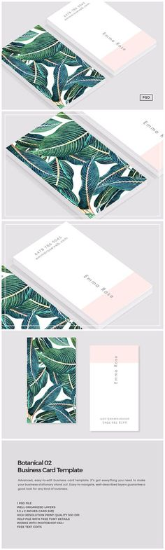 Botanical 02 Business Card Template by The Design Label on Creative Market - Fiverr Outsource - Outsource your work on Fiverr and save your time. - Botanical 02 Business Card Template by The Design Label on Creative Market Business Stationary, Unique Business Cards, Professional Business Cards, Business Card Logo, Business Card Design, Corporate Business, Business Card Templates, Minimal Business Card, Artist Business Cards