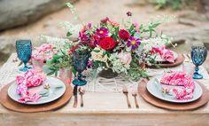 colorful boho table - http://ruffledblog.com/nomadic-cliffside-elopement-inspiration photo Focus Bay Photography