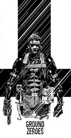Metal Gear Solid V - Ground Zeroes Big Boss Metal Gear, Snake Metal Gear, Metal Gear Games, Metal Gear Solid Series, Metal Gear Rising, Gear Art, The Fox And The Hound, Video Game Art, Video Games