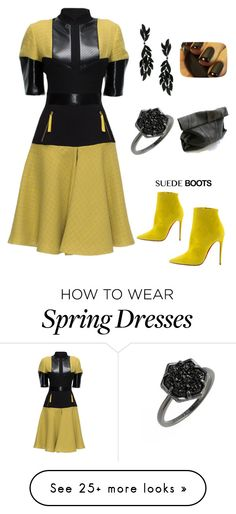 """""""Lady in Yellow n black: Style Staple: Suede Boots contest"""" by im-karla-with-a-k on Polyvore featuring Lattori, Kendra Scott, Christian Louboutin and Eternamé"""