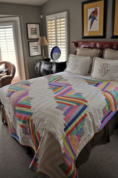 Mirror Ball Dot Log Cabin Quilt by out of character quilts on etsy